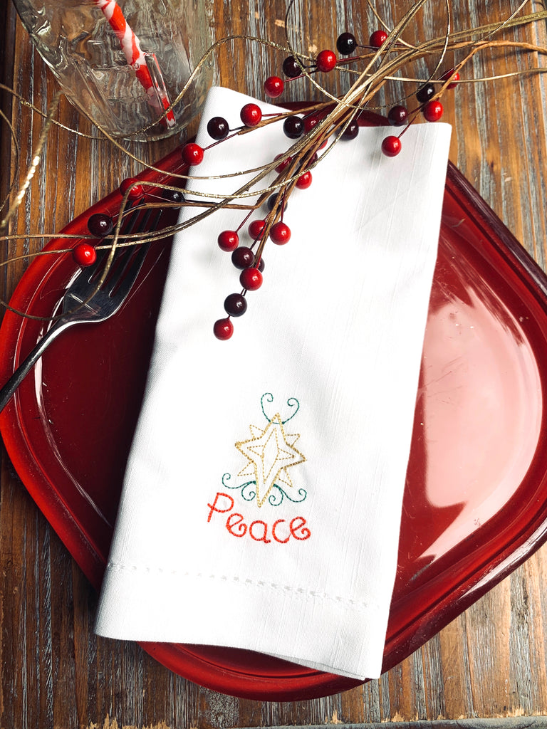 Christmas Peace Embroidered Cloth Napkins-White Tulip Embroidery