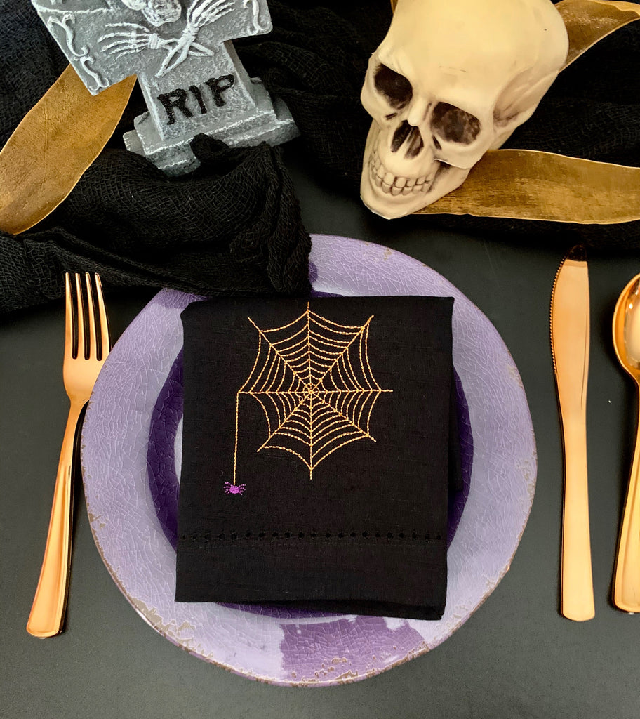 Halloween Spider Napkins - Set of 4 cloth napkins