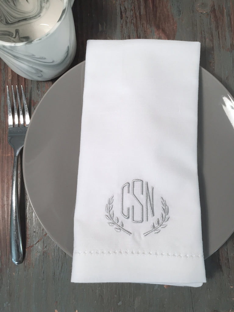 Leaf Monogrammed Laurel Embroidered Cloth Napkins-White Tulip Embroidery