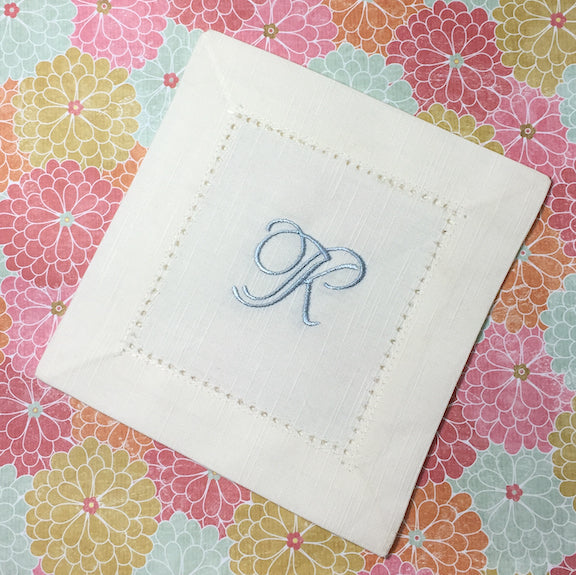 Monogrammed Ivory Cloth Cocktail Napkins - Wedding cocktail linens-White Tulip Embroidery