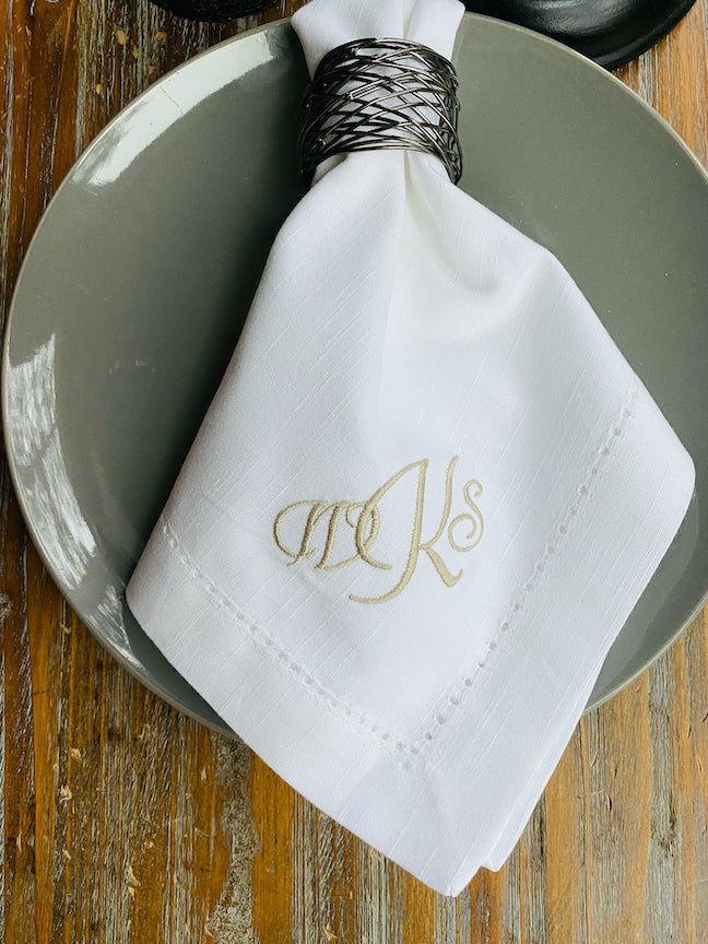 Mini Double Initial Monogrammed Cloth Napkins - Set of 4 napkins-White Tulip Embroidery