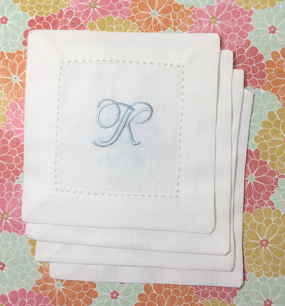 Monogrammed White Cocktail Napkins - Multiple fonts available - White Tulip Embroidery