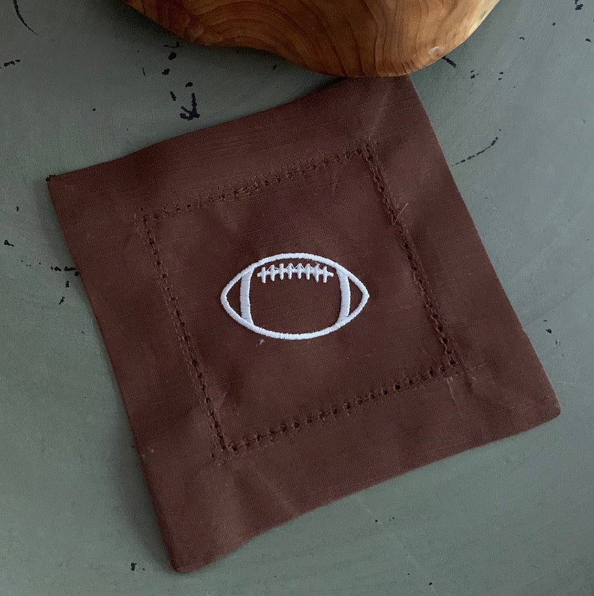 Brown Football Cloth Cocktail Napkins - Football cocktail linens-White Tulip Embroidery