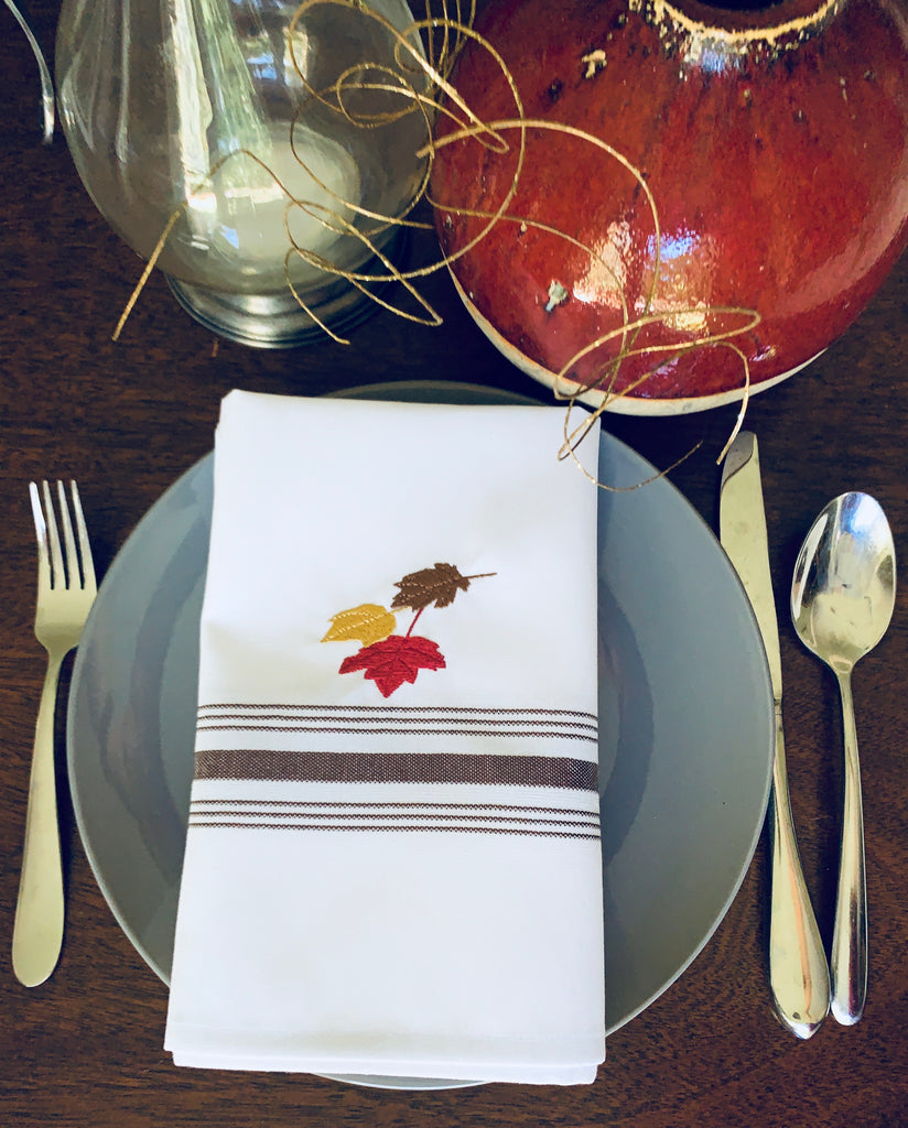 Thanksgiving Leaves Cloth Napkins - Set of 4 bistro napkins-White Tulip Embroidery