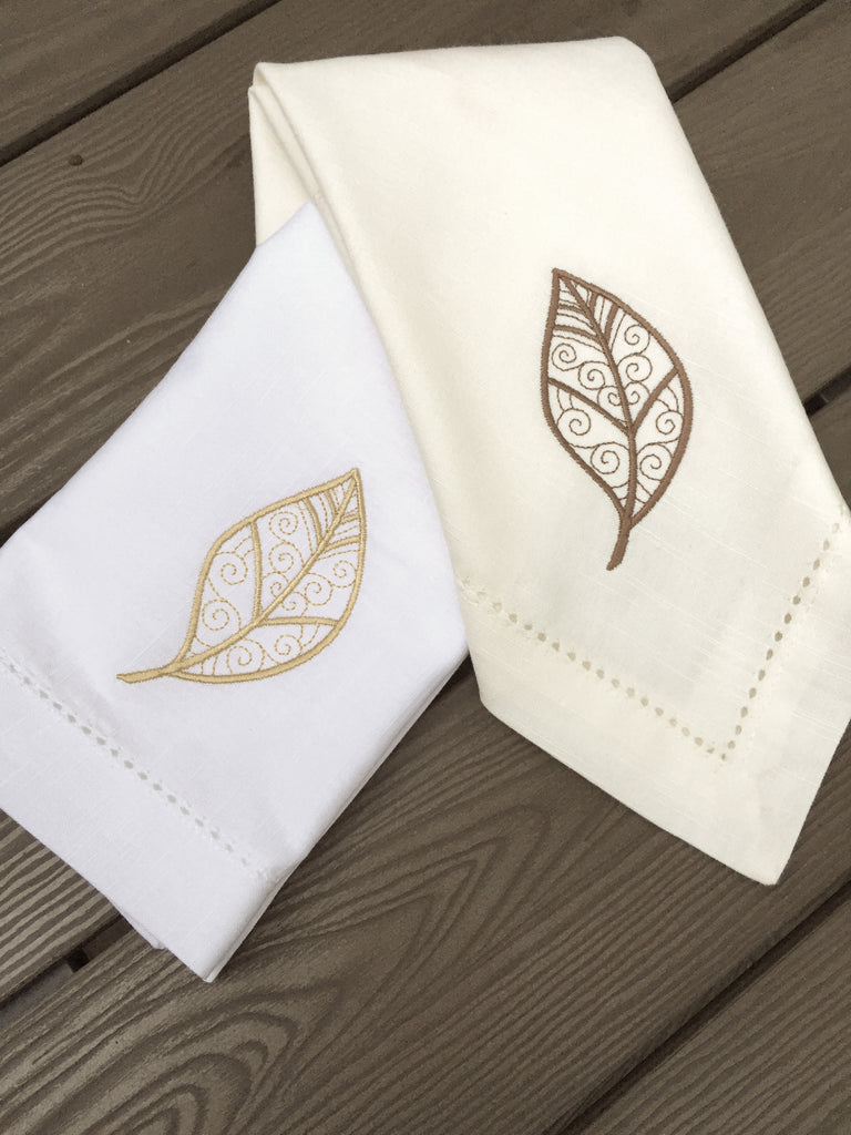 Autumn Leaves Cloth Napkins - Set of 4 napkins - White Tulip Embroidery