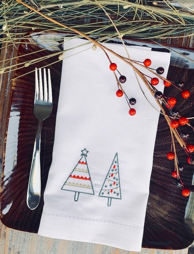 Festive Christmas Tree Cloth Napkins-White Tulip Embroidery