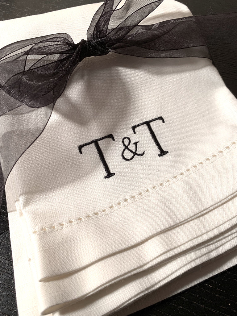 Ampersand Plus Sign Two Letter Monogrammed Cloth Napkins-White Tulip Embroidery