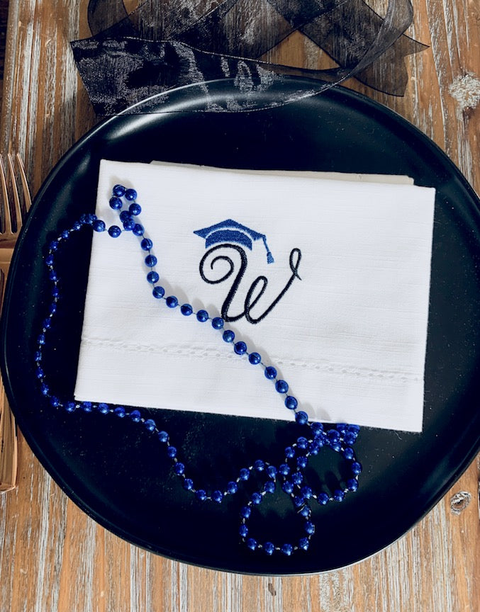 Graduation Monogrammed Cloth Napkins - Set of 4 graduation napkins