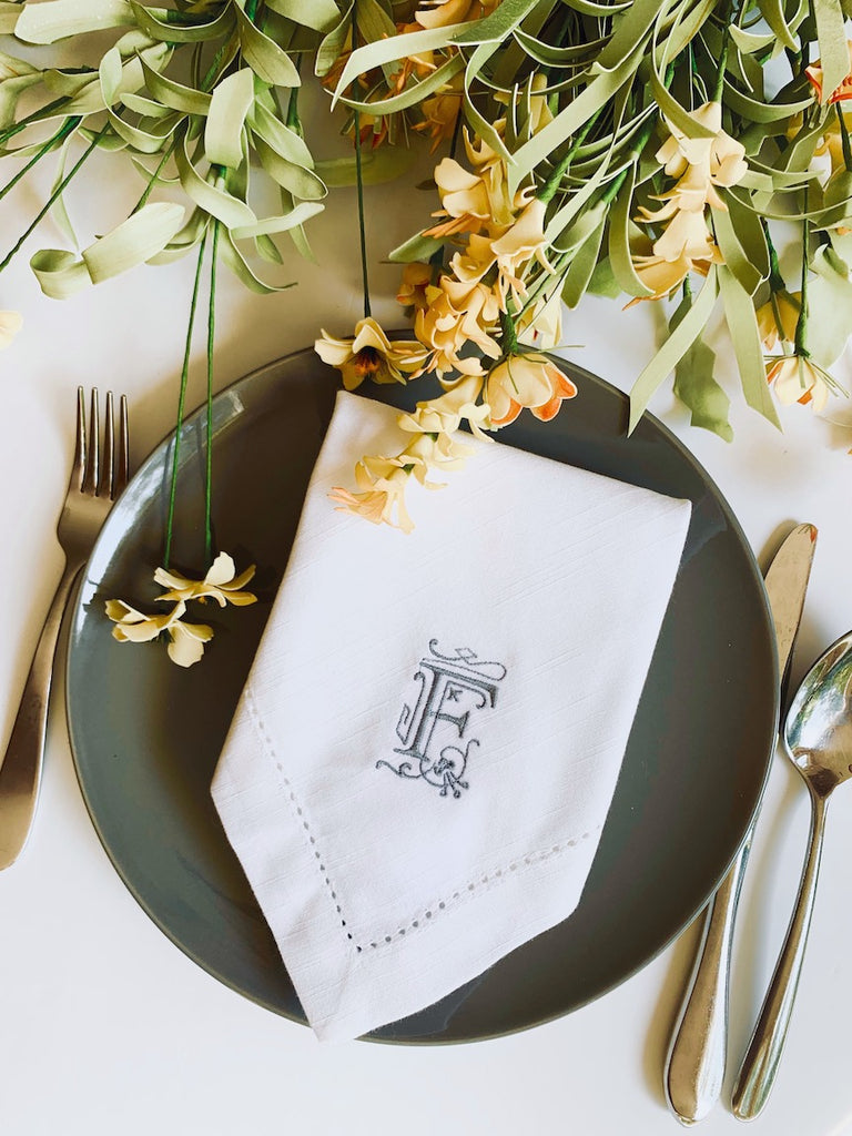 Victoria Monogrammed Embroidered Cloth Dinner Napkins - Set of 4 napkins