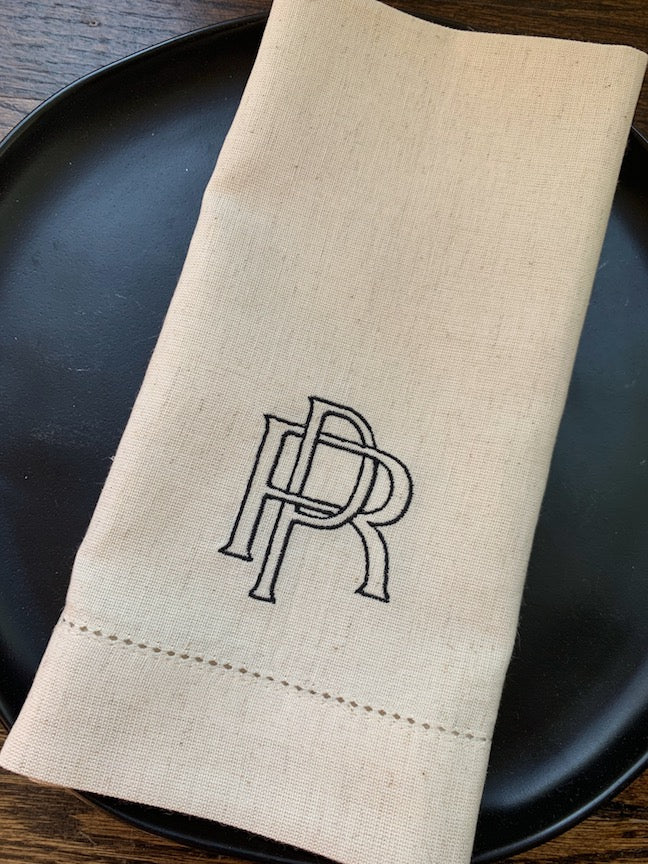 Two Initial interlinking Monogrammed Cloth Napkins - Set of 4 napkins