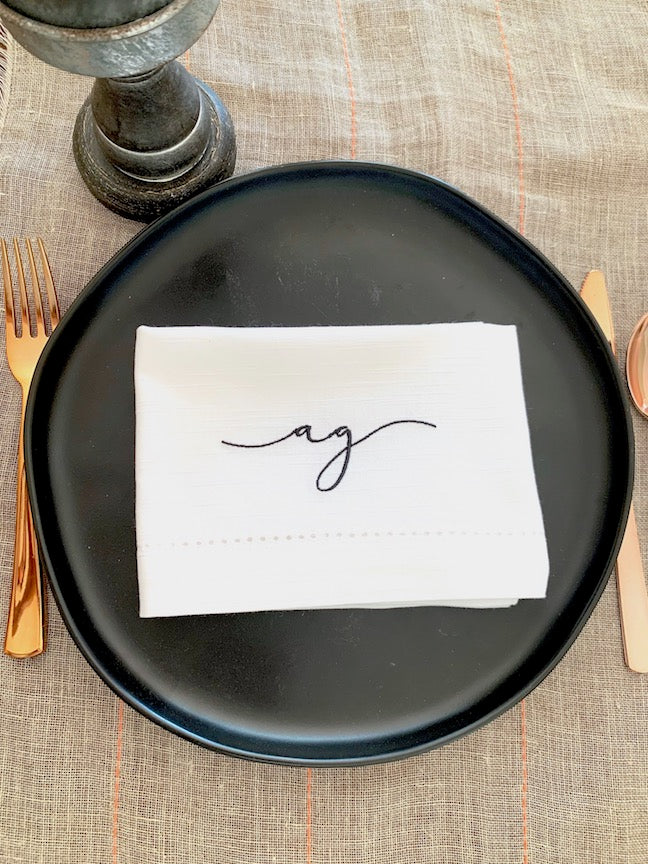 Cursive 2 Letter Monogrammed Cloth Napkins- Set of 4 napkins