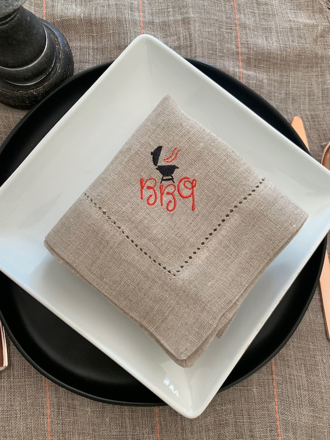 BBQ Grill Cloth Napkins - Set of 4 napkins