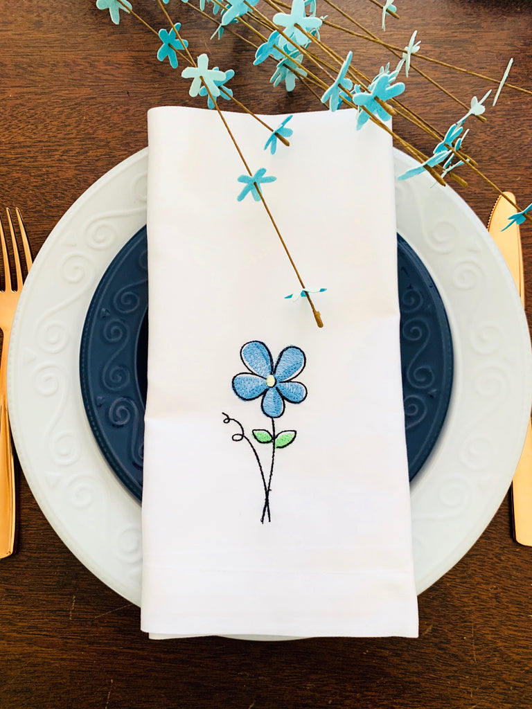 Spring Flower Embroidered Cloth Napkins - Set of 4 napkins