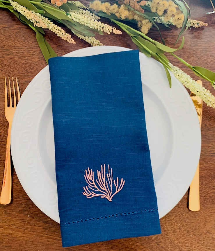 Coral Cloth Napkins - Set of 4 beach napkins