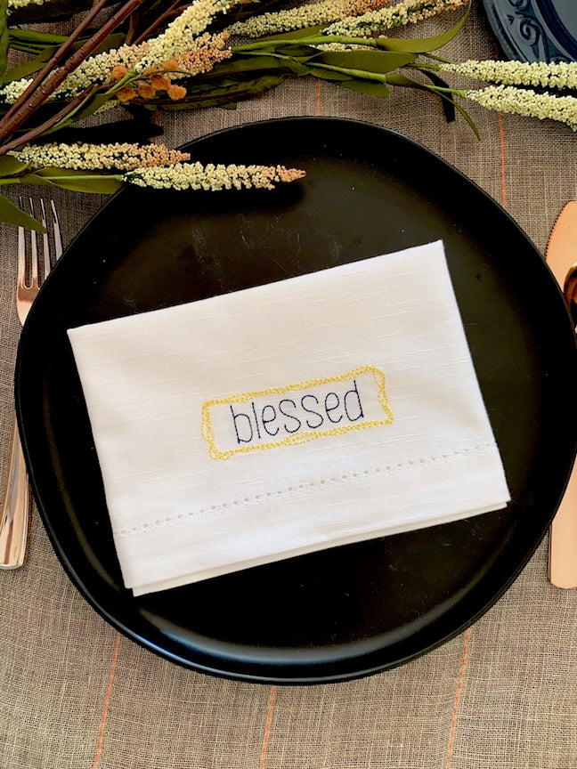 Blessed Embroidered Inspirational Cloth Napkins - Set of 4 napkins
