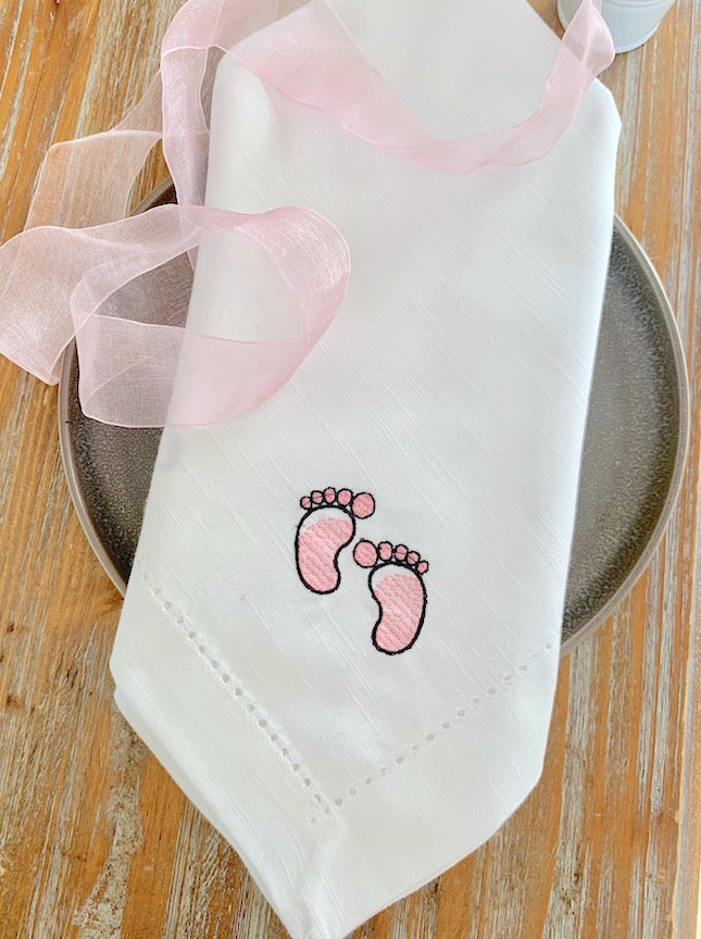 Baby Shower Footprint Napkins - Set of 4 napkins