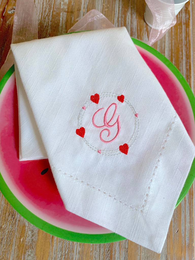 Heart Monogrammed Cloth Dinner Napkins - Set of 4 napkins