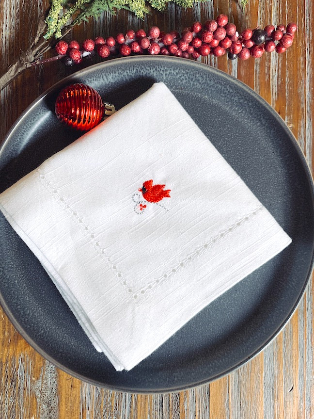 Mini Cardinal Christmas Cloth Napkins - Set of 4 Christmas napkins