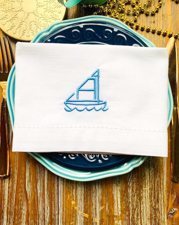 Sailboat Monogrammed Cloth Dinner Napkins - Set of 4 napkins
