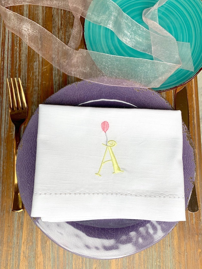 Birthday Balloon Embroidered Cloth Napkins