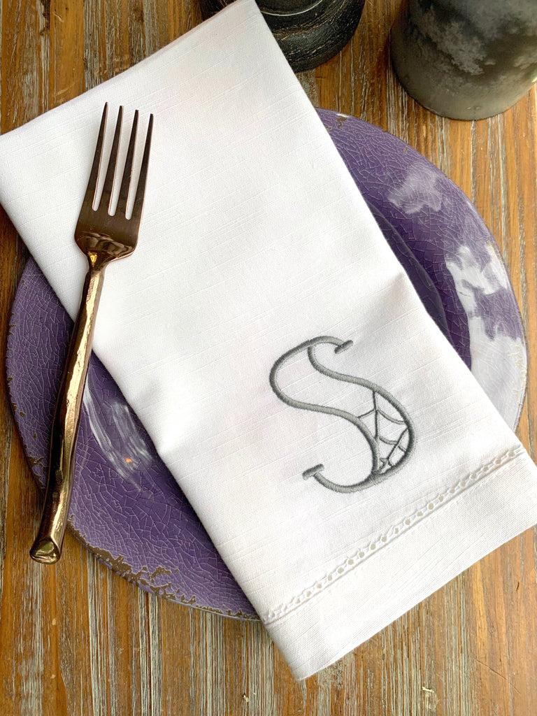 Spider Web Halloween Monogrammed Cloth Dinner Napkins - Set of 4 napkins