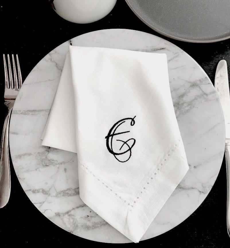 Lucia Monogrammed Cloth Dinner Napkins - Set of 4 napkins