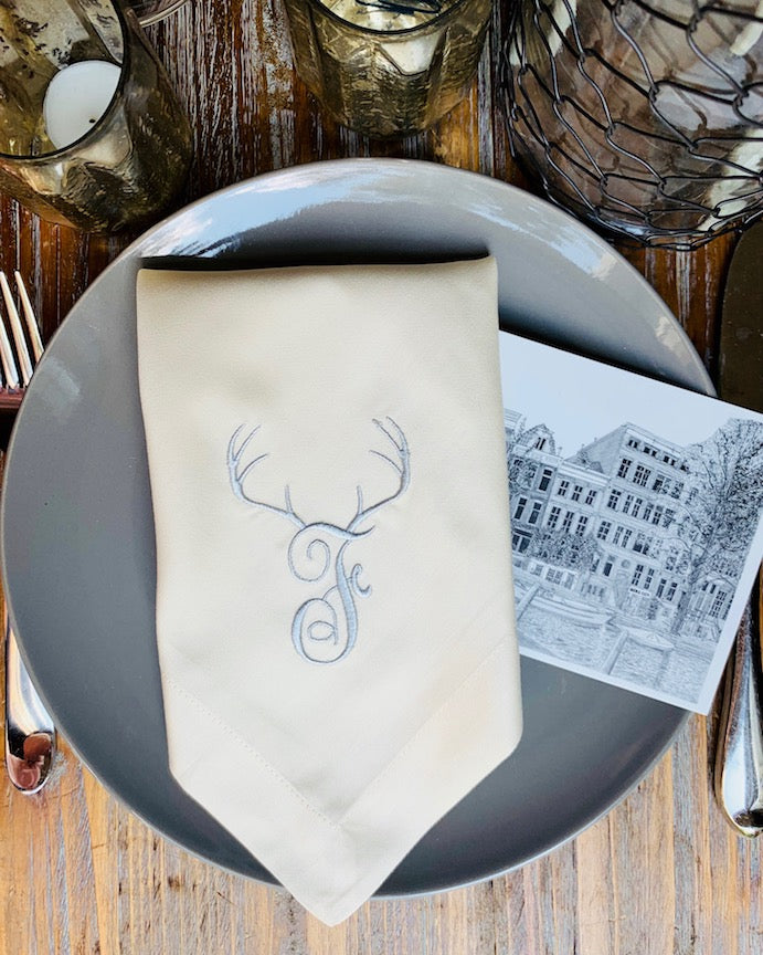 Deer Antler Monogrammed Embroidered Cloth Napkins - White Tulip Embroidery