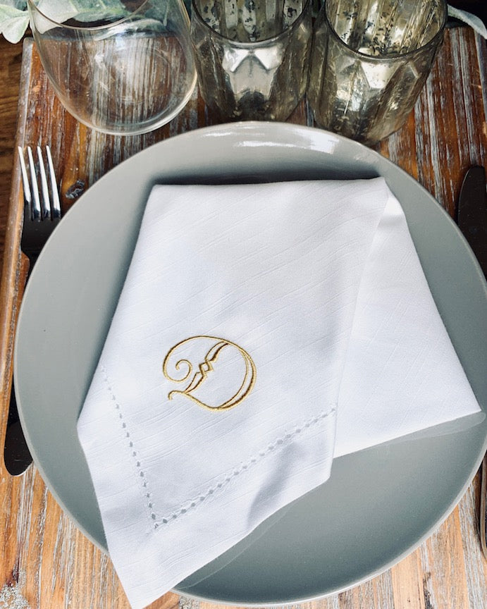 Deco Monogrammed Cloth Dinner Napkins - Set of 4 napkins - White Tulip Embroidery