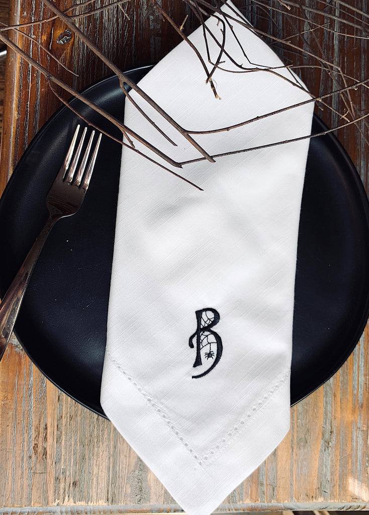 Monogrammed Spider Web Cloth Napkins-Set of 4 Halloween napkins-White Tulip Embroidery