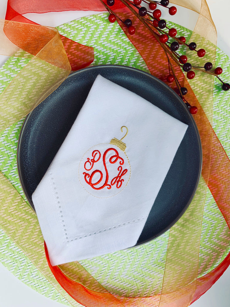 Monogrammed Christmas Ornament Cloth Napkins-Set of 4 napkins-White Tulip Embroidery