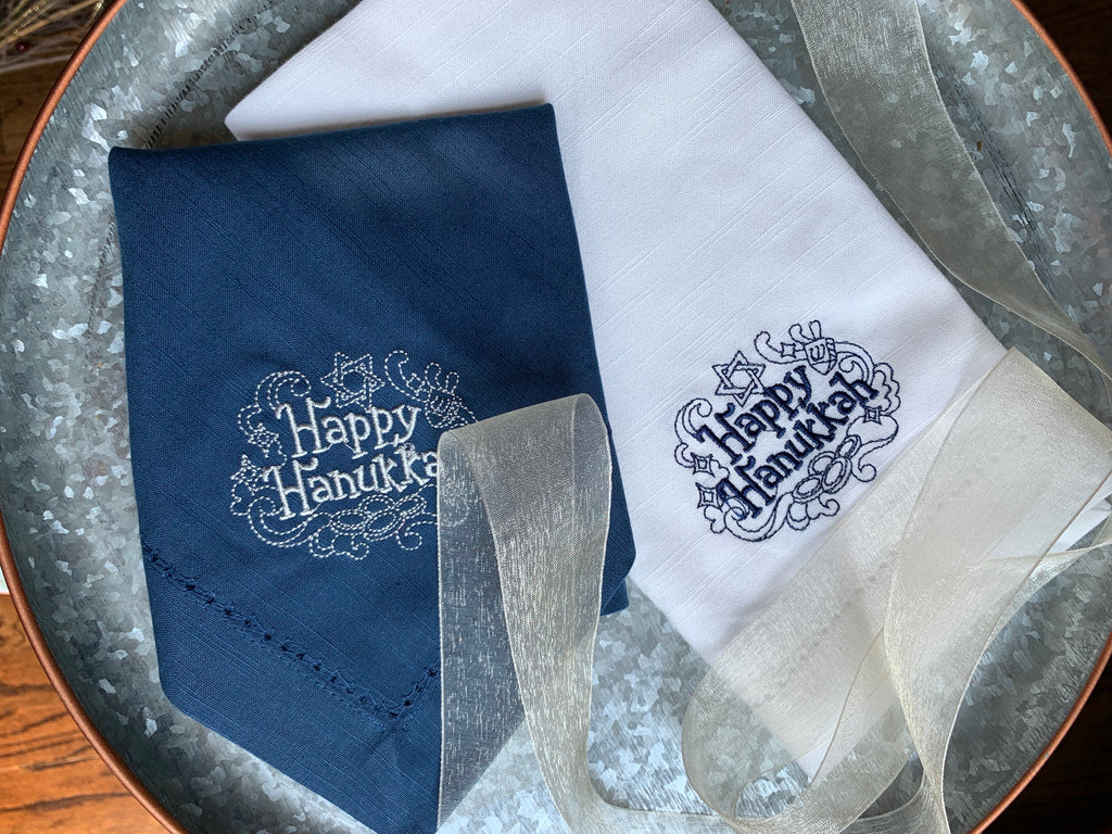 Happy Hanukkah Cloth Napkins - Set of 4 napkins-White Tulip Embroidery