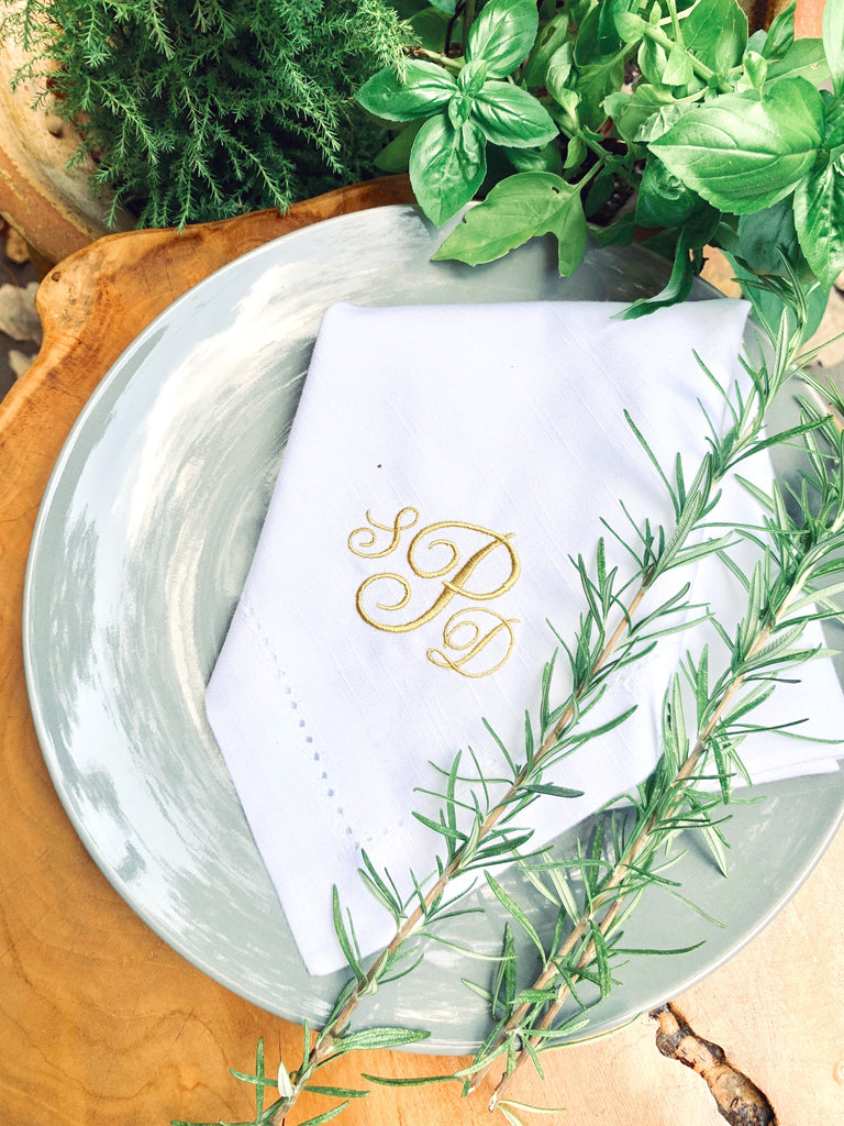 Lulu Monogrammed Embroidered Cloth Napkins-White Tulip Embroidery