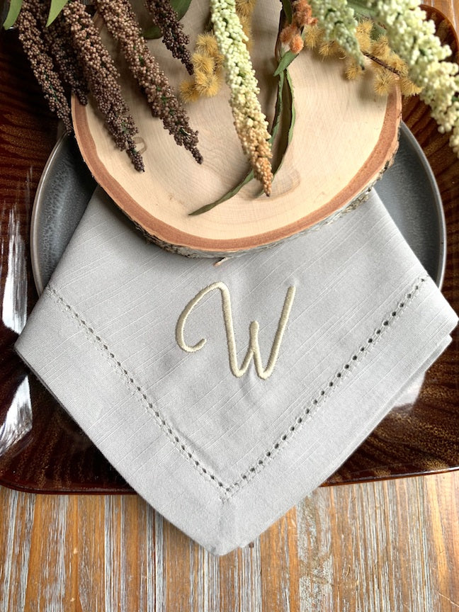 Ava Monogrammed Embroidered Cloth Napkins
