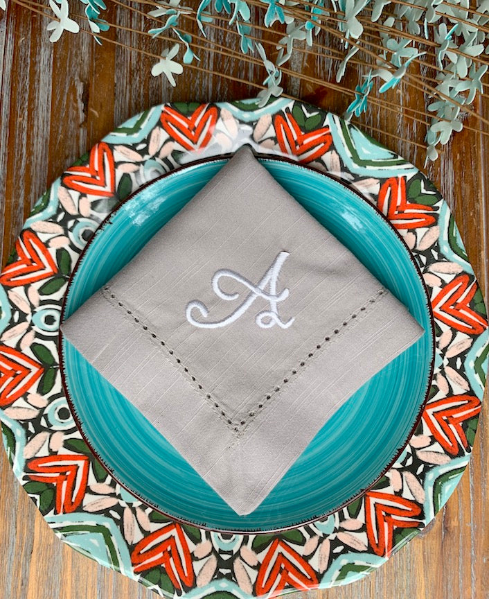 Leah Monogrammed Embroidered Cloth Napkins