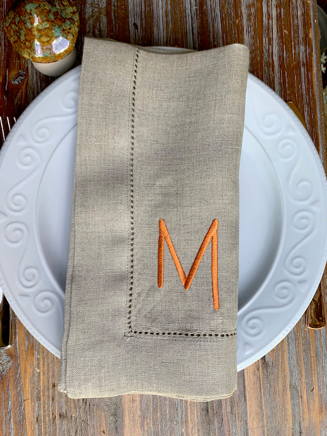 Slim Print Monogrammed Embroidered Cloth Dinner Napkins - Set of 4 napkins