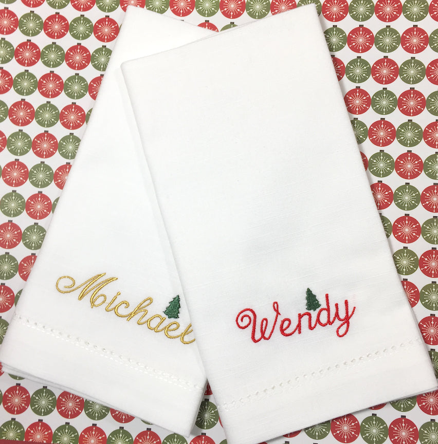 Christmas Name Napkins, Set of 6 names napkins-White Tulip Embroidery