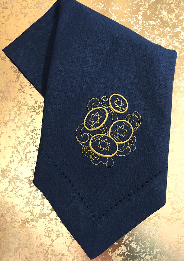 Hanukkah Gelt Cloth Napkins - Set of 4 napkins, Blue Napkins-White Tulip Embroidery