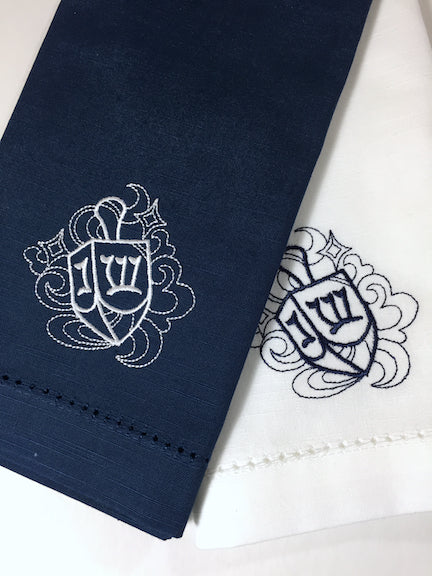 Hanukkah Dreidel Cloth Napkins - Set of 4 napkins, Blue Napkins-White Tulip Embroidery