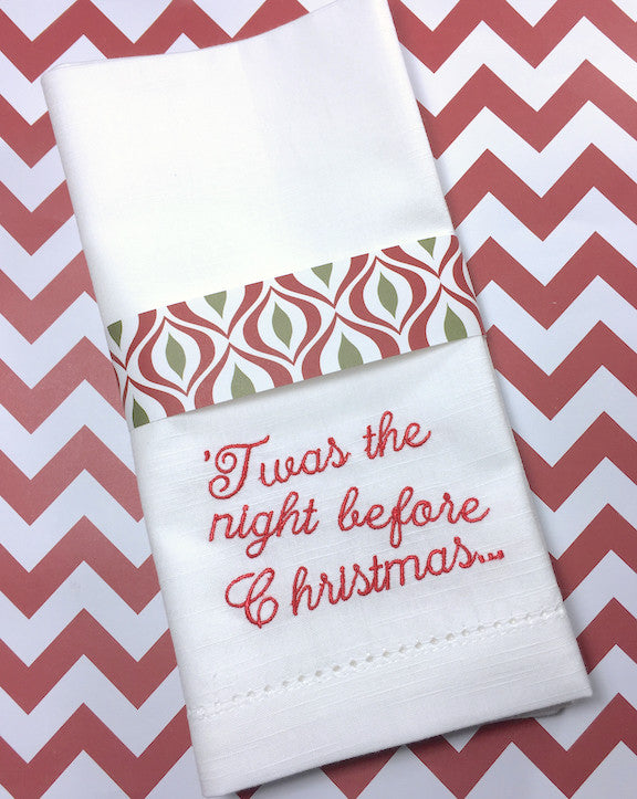 'Twas the Night Before Christmas Cloth Napkins - Set of 4 napkins-White Tulip Embroidery