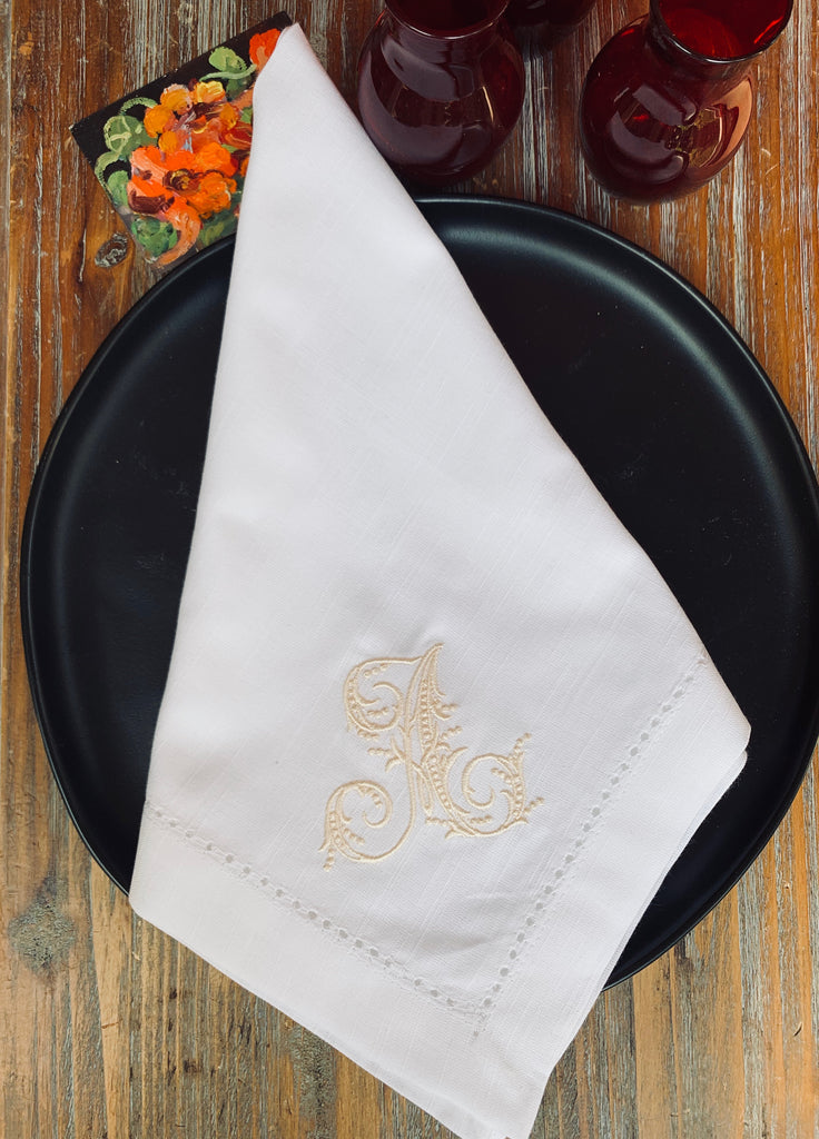 Delicate Monogrammed Cloth Dinner Napkins - Set of 4 napkins