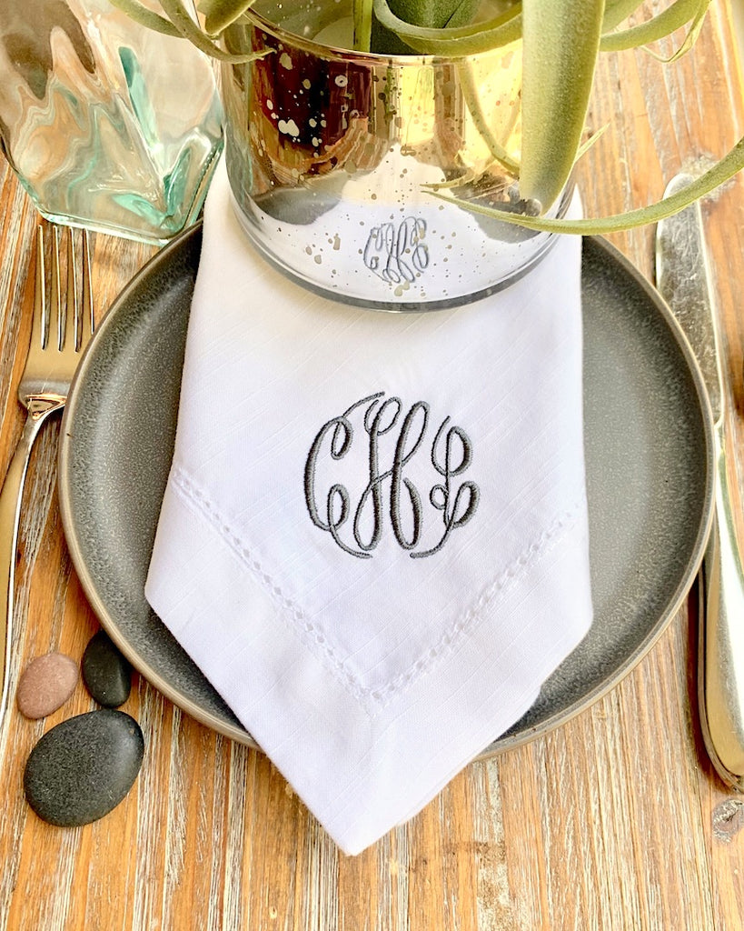 Elegant Scroll Monogrammed Cloth Napkins - Set of 4 napkins-White Tulip Embroidery