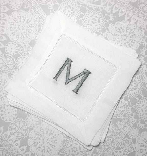monogrammed white linen cocktail napkins set of 4 napkins - Linen Monogrammed Napkins