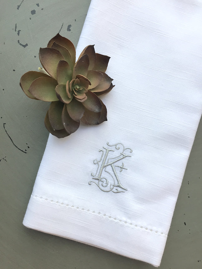 Victoria Monogrammed Embroidered Cloth Dinner Napkins - Set of 4 napkins-White Tulip Embroidery