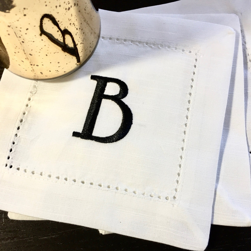 Set of 4 Monogrammed White Cocktail Napkins - White Tulip Embroidery