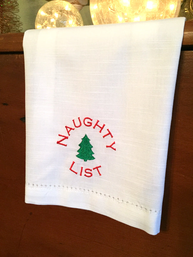 Naughty and Nice Christmas Cloth Napkins, Set of 4 - White Tulip Embroidery