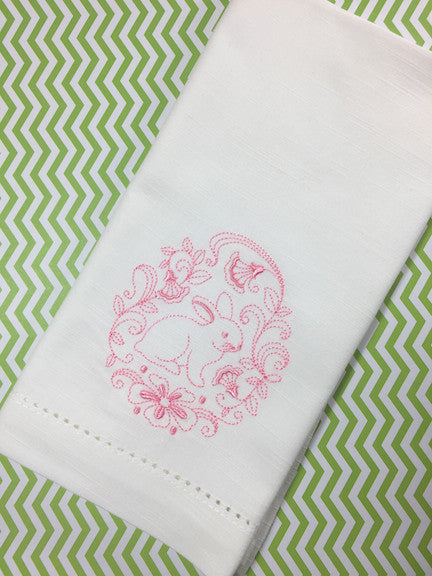 Sweet Easter Bunny Cloth Napkins - Set of 4 napkins-White Tulip Embroidery