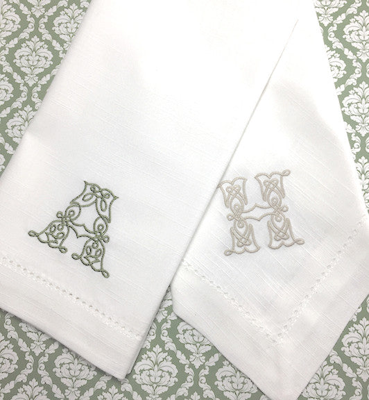 Celtic Monogrammed Cloth Napkins - Set of 4 napkins-White Tulip Embroidery