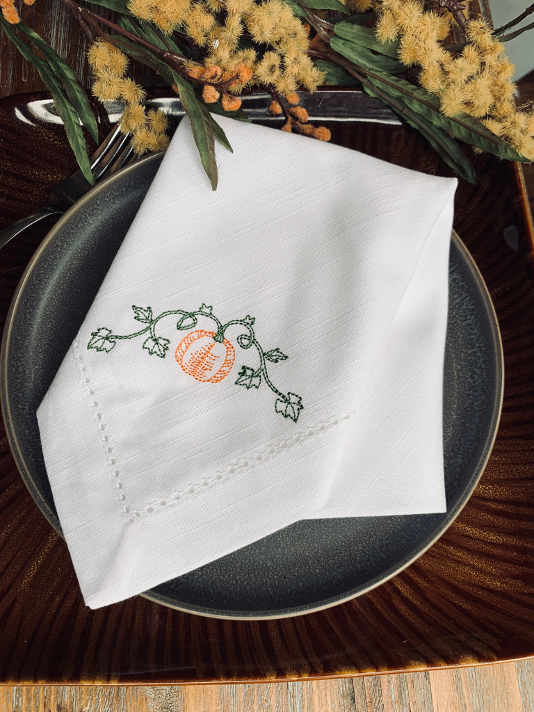 Pumpkin Vine Embroidered Cloth Dinner Napkins - Set of 4 napkins-White Tulip Embroidery
