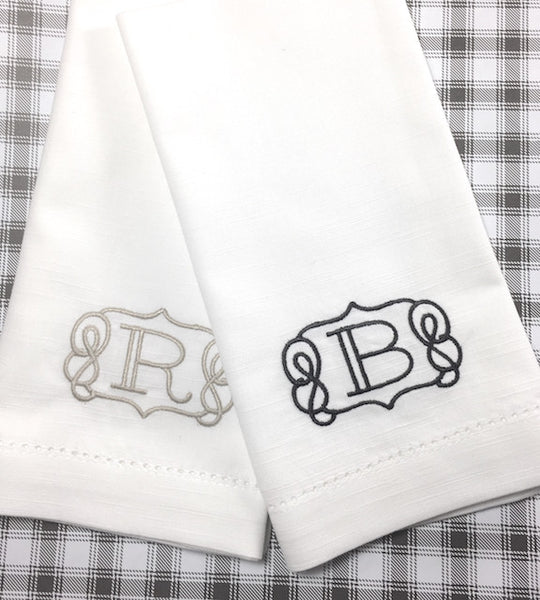 Scroll Border Monogrammed Cloth Dinner Napkins - Set of 4 napkins - White Tulip Embroidery
