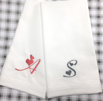 Love Heart Monogrammed Cloth Napkins - Set of 4 napkins